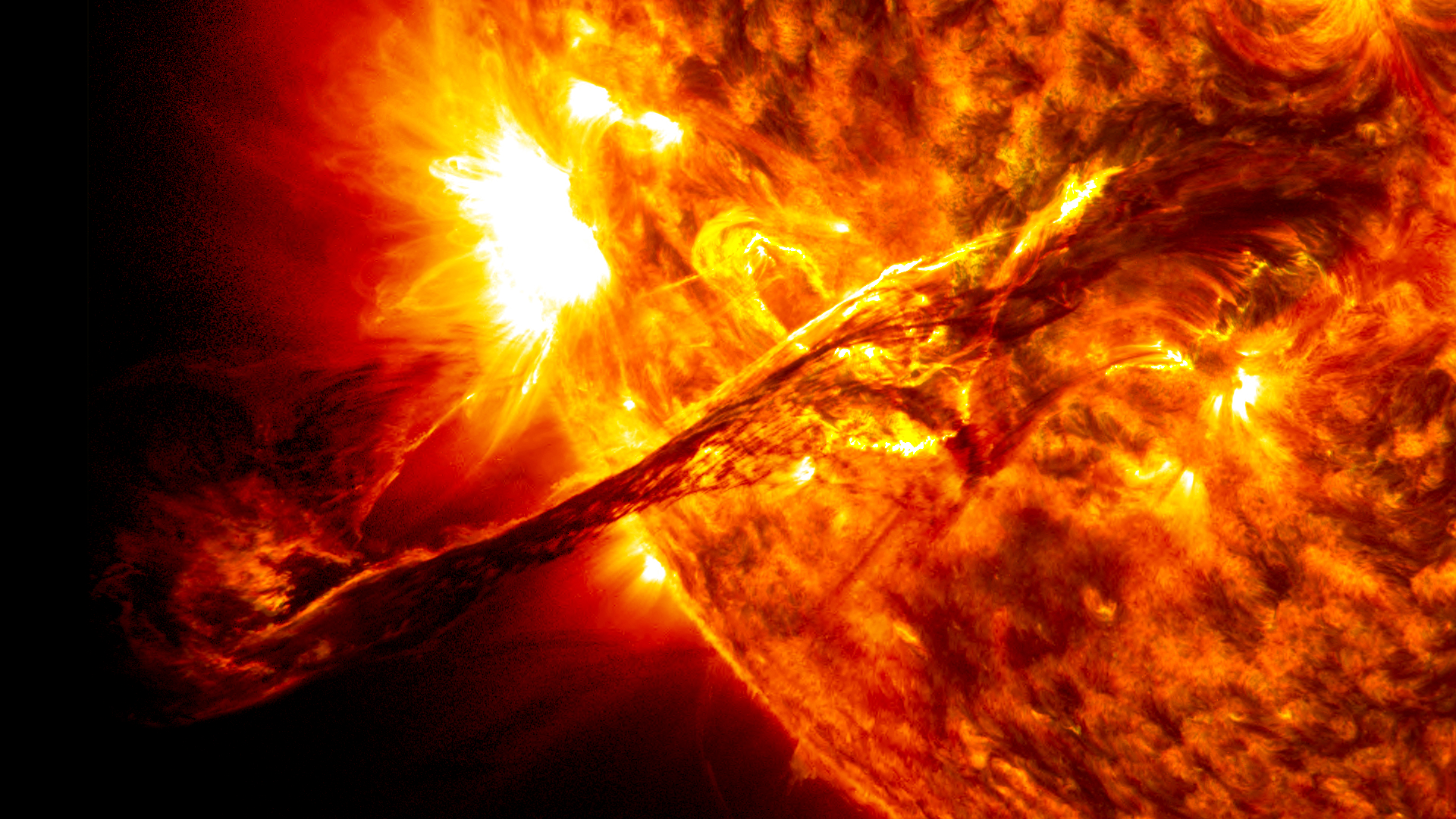 The Sun can release giant solar flares and prominence.