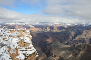 Grand Canyon in winter depicting the layers of rock reflecting the immensity of geologic time.